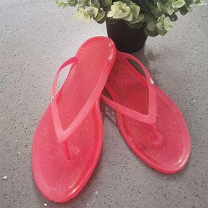 Lacoste Ladies Pink Jelly Flip Flops